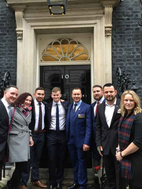Competitors from the 2014 Invictus Games at the Downing Street reception ahead of The Sun Military Awards