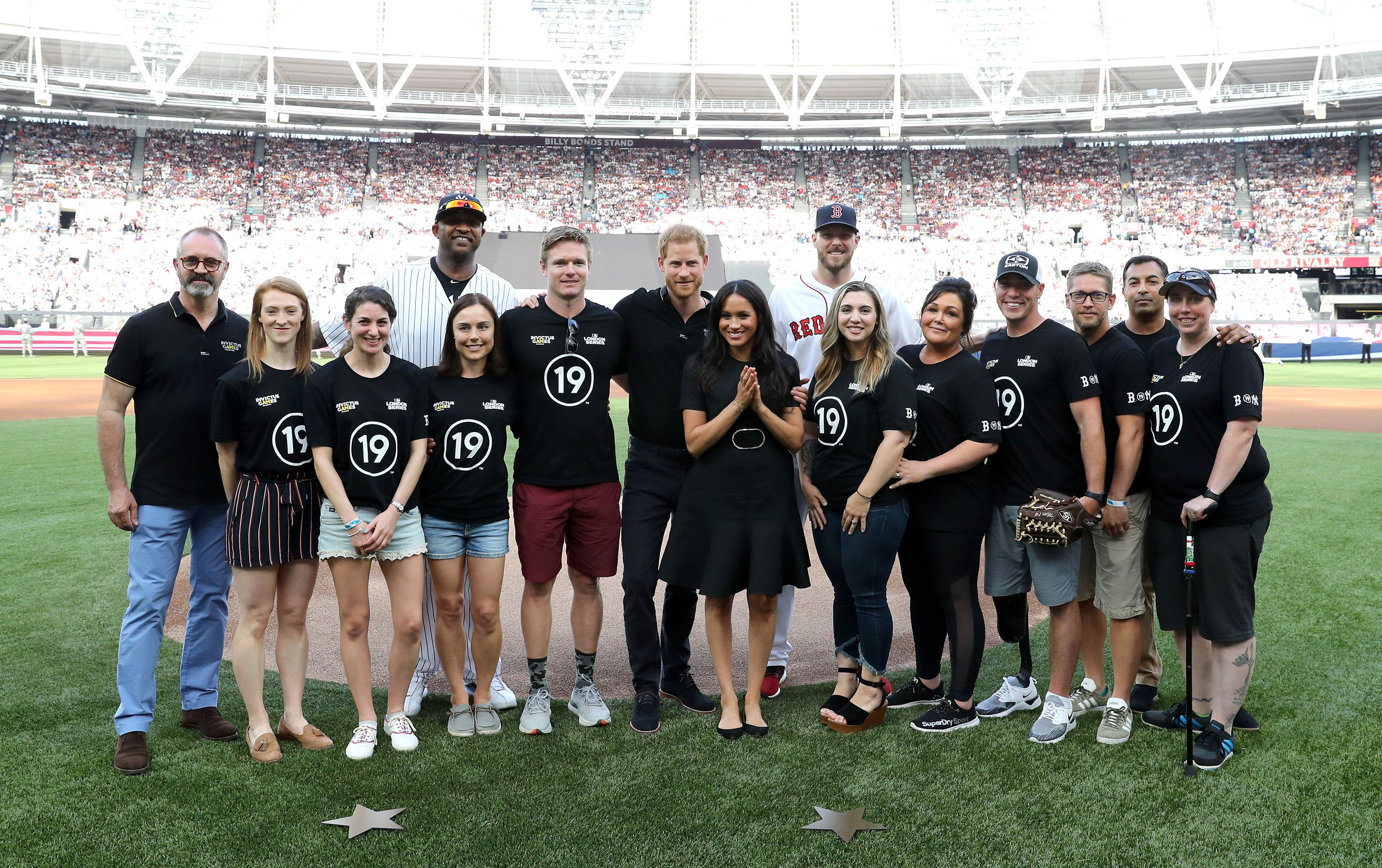 The Duke and Duchess of Sussex attend the Boston Red Sox vs New York Yankees game in support of the Invictus Games Foundation